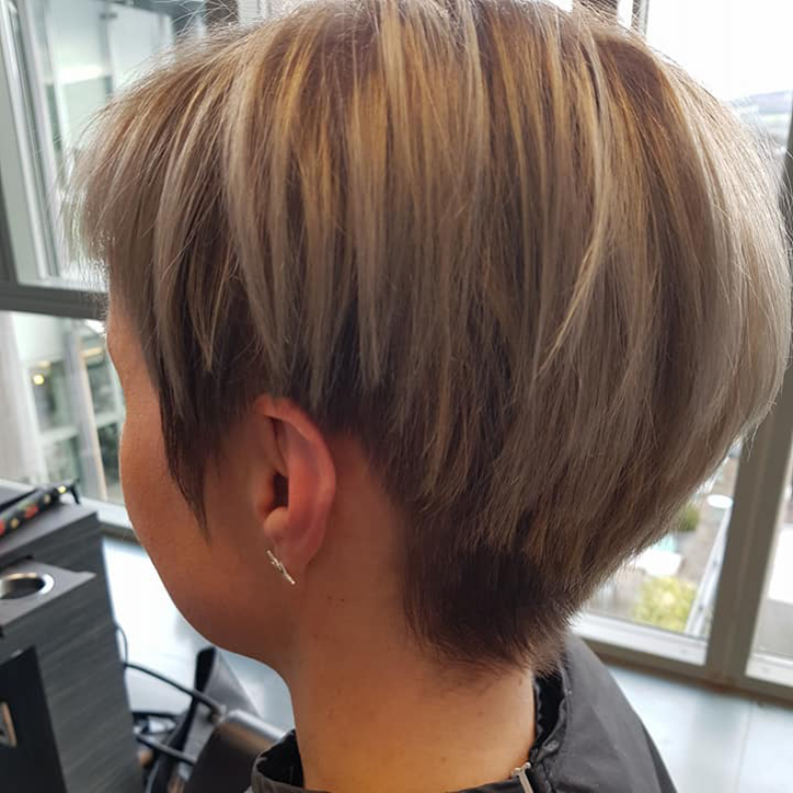 woman with blonde short hair