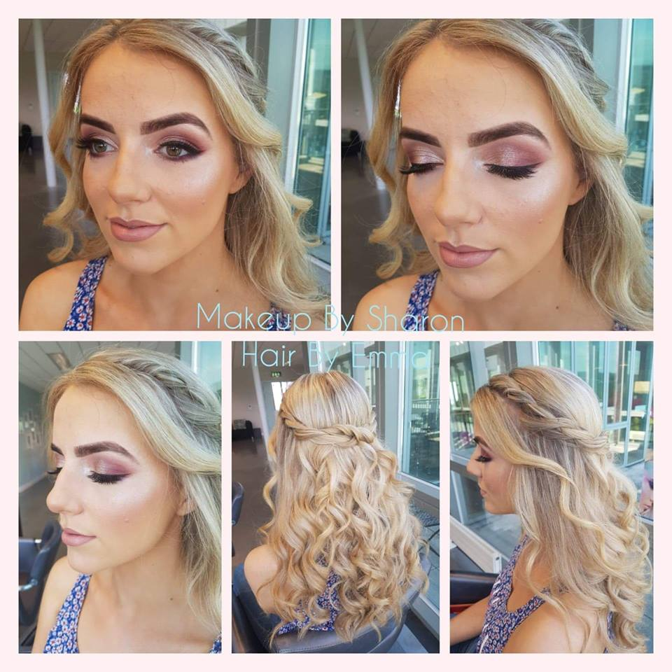 woman wearing light make up with long curly hair