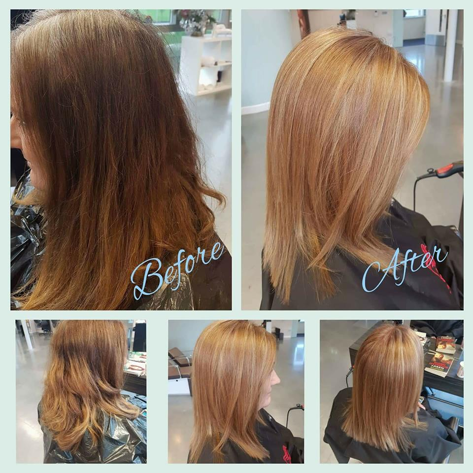 before and after of long hair to shoulder length